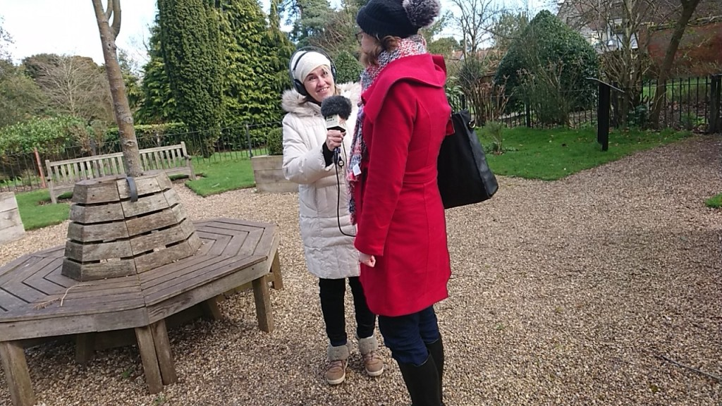 Liana from BBC Essex radio interviews Trustee Jennifer Rowland in the John Ray Garden
